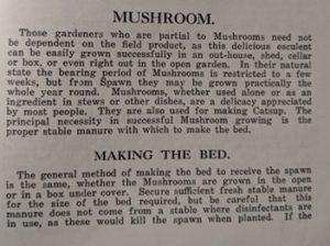 Mushroom Instructions from The Home Gardener, Leslie B. Brunning,1937, Robertson & Mullens Ltd, pp115-117